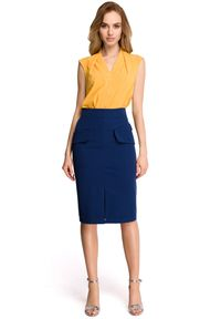 Style - Ołówkowa spódnica midi z dużymi kieszeniami. Styl: elegancki