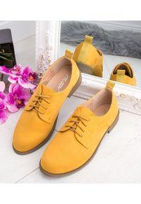Żółte półbuty ABLOOM w kolorowe wzory, casualowe