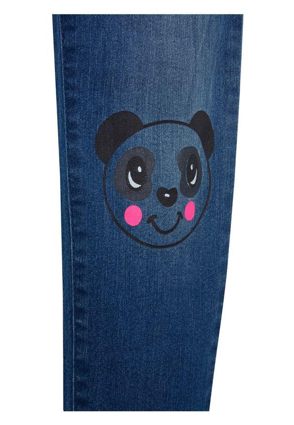 Niebieskie jeansy bonprix casualowe, z nadrukiem, na co dzień