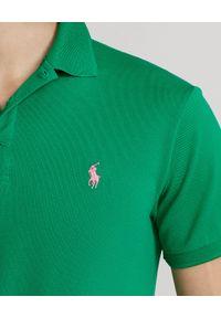 Ralph Lauren - RALPH LAUREN - Zielona koszulka polo Mesh Slim Fit Stretch. Typ kołnierza: polo. Kolor: zielony. Materiał: mesh. Wzór: haft, ze splotem, aplikacja. Sezon: lato. Styl: klasyczny