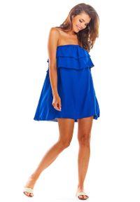 Niebieska sukienka wizytowa Awama mini