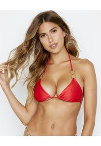 BEACH BUNNY - Top od bikini Nadia. Kolor: czerwony. Materiał: materiał. Wzór: aplikacja