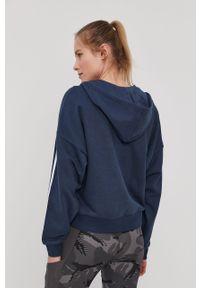 Niebieska bluza rozpinana Adidas gładkie, z kapturem