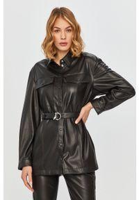 Czarna koszula Patrizia Pepe z długim rękawem, długa, klasyczna, na co dzień