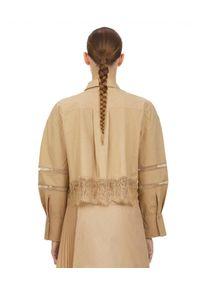 SELF PORTRAIT - Beżowa koszula z koronką. Kolor: beżowy. Materiał: koronka. Wzór: koronka. Styl: elegancki