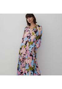 Reserved - Długa sukienka z wiskozy - Niebieski. Kolor: niebieski. Materiał: wiskoza. Długość: maxi