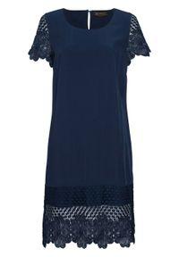 Niebieska sukienka bonprix na lato, z okrągłym kołnierzem
