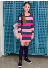 Sukienka dziewczęca dzianinowa w szerokie paski bonprix jasnoróżowo-ciemnoniebieski w paski. Kolor: różowy. Materiał: dzianina. Wzór: paski