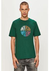 Zielony t-shirt Converse z nadrukiem, casualowy