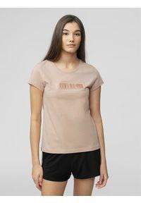 4f - T-shirt damski. Kolor: różowy. Materiał: dzianina, bawełna
