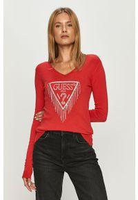 Czerwony sweter Guess Jeans z okrągłym kołnierzem, casualowy, długi