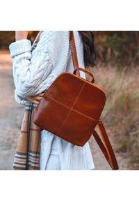 DAN-A T65 plecak skórzany damski camel. Materiał: skóra. Styl: sportowy