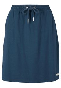 Spódnica z dżerseju z paskiem w prążek bonprix ciemnoniebieski. Kolor: niebieski. Materiał: jersey. Wzór: prążki