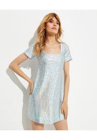 SAKS POTTS - Sukienka z połyskiem Beate. Typ kołnierza: dekolt kwadratowy. Kolor: srebrny. Materiał: materiał. Długość: mini