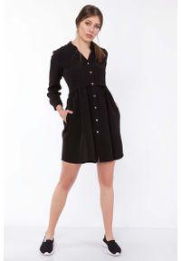 Czarna sukienka wizytowa Lanti szmizjerki, mini