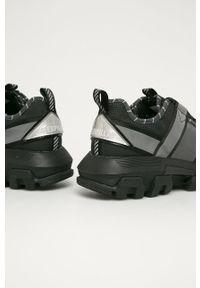 Czarne sneakersy CATerpillar z okrągłym noskiem, na sznurówki, z cholewką