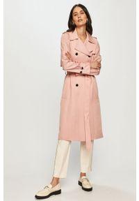 Różowy płaszcz TOMMY HILFIGER casualowy, na co dzień, bez kaptura, gładki