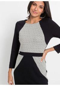 Sukienka ołówkowa bonprix czarno-biały. Kolor: czarny. Typ sukienki: ołówkowe