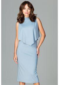 Lenitif - Dopasowana sukienka midi z doszytą pelerynką niebieska. Kolor: niebieski. Typ sukienki: ołówkowe, dopasowane. Styl: elegancki. Długość: midi