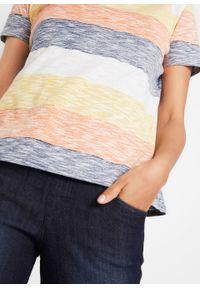 Shirt bawełniany w paski, krótki rękaw bonprix biało-pomarańczowy w paski. Kolor: biały. Materiał: bawełna. Długość rękawa: krótki rękaw. Długość: krótkie. Wzór: paski