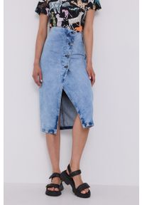 Bimba y Lola - BIMBA Y LOLA - Spódnica jeansowa. Okazja: na co dzień. Stan: podwyższony. Kolor: niebieski. Materiał: jeans. Styl: casual
