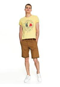 Żółty t-shirt TOP SECRET z nadrukiem