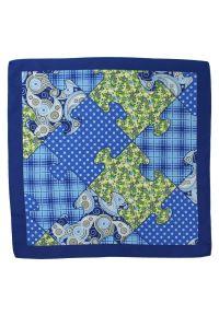 Chattier - Stylowa Poszetka CHATTIER - Puzzle w Groszki, Kratkę, Niebieska. Kolor: niebieski. Materiał: mikrofibra. Wzór: grochy