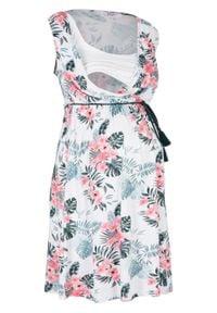 Sukienka ciążowa i do karmienia bonprix biały w kwiaty. Kolekcja: moda ciążowa. Kolor: biały. Wzór: kwiaty