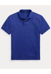 Ralph Lauren - RALPH LAUREN - Granatowa koszulka polo Custom Slim Fit Mesh. Typ kołnierza: polo. Kolor: niebieski. Materiał: mesh. Wzór: haft