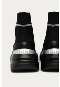Czarne buty sportowe Karl Lagerfeld z cholewką, na średnim obcasie, na obcasie