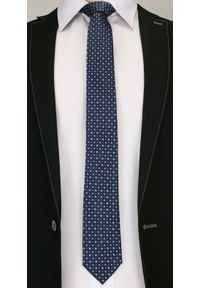 Elegancki Krawat Męski w Drobny Wzór - 6 cm - Angelo di Monti- Stonowany, Granatowy. Kolor: niebieski. Wzór: geometria. Styl: wizytowy, elegancki