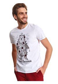 TOP SECRET - T-shirt w stylu świątecznym. Kolor: biały. Materiał: bawełna, tkanina. Długość rękawa: krótki rękaw. Długość: krótkie. Wzór: nadruk. Sezon: zima. Styl: wizytowy