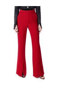 AGGI - Czerwone spodnie z rozcięciami Monica. Kolor: czerwony. Materiał: jedwab. Wzór: ze splotem