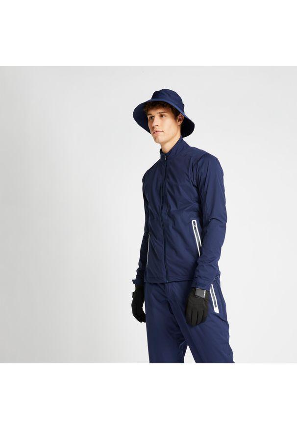 INESIS - Kurtka przeciwdeszczowa do golfa RW500 męska. Typ kołnierza: golf. Kolor: niebieski. Materiał: materiał, poliester. Sport: golf