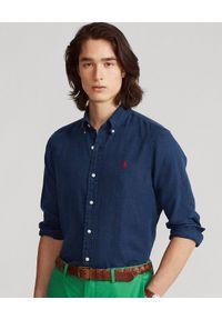 Ralph Lauren - RALPH LAUREN - Lniana koszula Slim Fit. Typ kołnierza: polo. Kolor: niebieski. Materiał: len. Długość rękawa: długi rękaw. Długość: długie. Wzór: haft