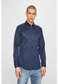 Niebieska koszula Selected na co dzień, gładkie, długa, z klasycznym kołnierzykiem