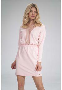 Figl - Mini Sukienka z Dekoltem Wykończonym Welurem - Różowa. Kolor: różowy. Materiał: welur. Długość: mini