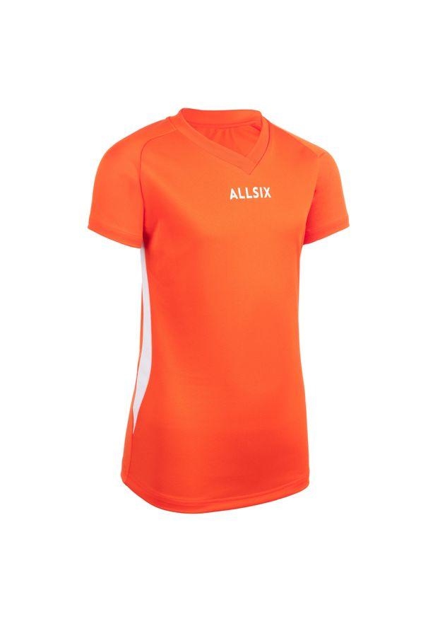 ALLSIX - Koszulka do siatkówki V100 dla dziewczynek. Kolor: biały, wielokolorowy, pomarańczowy. Materiał: poliester, materiał. Sport: siatkówka