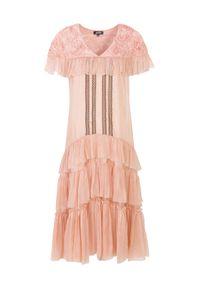 BY CABO - Sukienka jedwabna Catelyn blush. Okazja: na randkę. Kolor: różowy, wielokolorowy, fioletowy. Materiał: jedwab. Długość rękawa: krótki rękaw. Wzór: koronka, aplikacja. Styl: boho. Długość: maxi