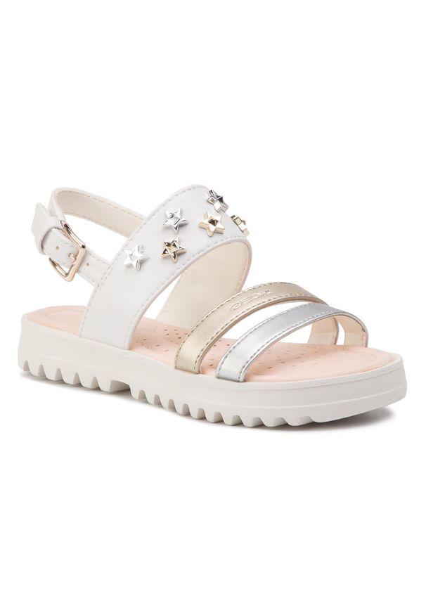 Białe sandały Geox z aplikacjami, na lato