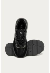 Czarne buty sportowe D.A.T.E. na obcasie, z cholewką, na średnim obcasie, na sznurówki