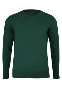 Zielony sweter Just Yuppi do pracy, z dekoltem w serek