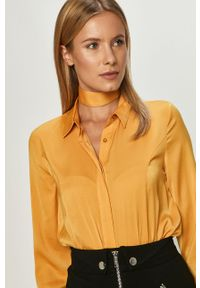Żółta koszula Guess Jeans długa, na co dzień, z klasycznym kołnierzykiem, z długim rękawem