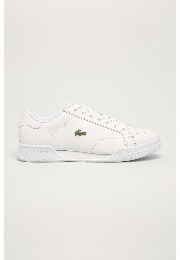 Lacoste - Buty skórzane. Nosek buta: okrągły. Zapięcie: sznurówki. Kolor: biały. Materiał: skóra. Szerokość cholewki: normalna