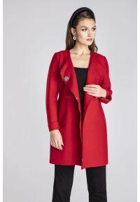 Czerwony płaszcz wełniany Vito Vergelis na spotkanie biznesowe, elegancki, z klasycznym kołnierzykiem, w kolorowe wzory