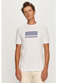 Biały t-shirt Scotch & Soda na co dzień, z okrągłym kołnierzem