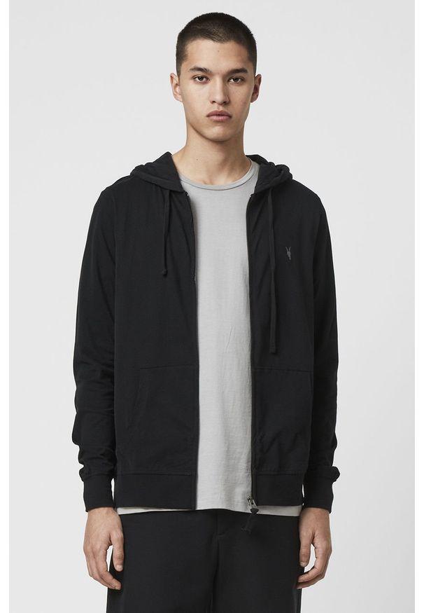 Czarna bluza rozpinana AllSaints casualowa, z kapturem, na co dzień