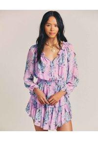LOVE SHACK FANCY - Różowa sukienka Popover. Kolor: fioletowy, różowy, wielokolorowy. Materiał: bawełna. Długość rękawa: długi rękaw. Wzór: nadruk, kwiaty, aplikacja. Sezon: lato. Długość: mini