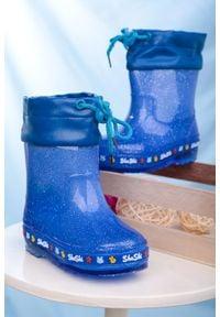 Casu - niebieskie kalosze brokatowe ze ściągaczem casu l11. Kolor: niebieski