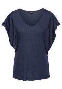 Shirt z falbanowymi rękawami bonprix ciemnoniebieski. Typ kołnierza: dekolt w serek. Kolor: niebieski. Styl: elegancki